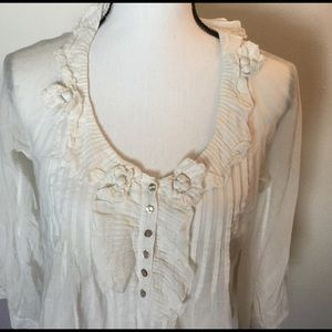 REBECCA TAYLOR Ruffled Blouse White with flowers